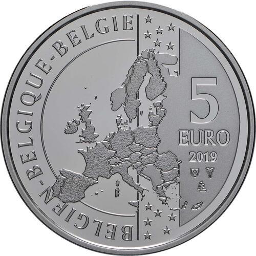 Rückseite:Belgien : 5 Euro 50 Jahre erster Mensch auf dem Mond  2019 PP