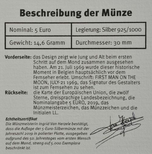 Zertifikat:Belgien : 5 Euro 50 Jahre erster Mensch auf dem Mond  2019 PP