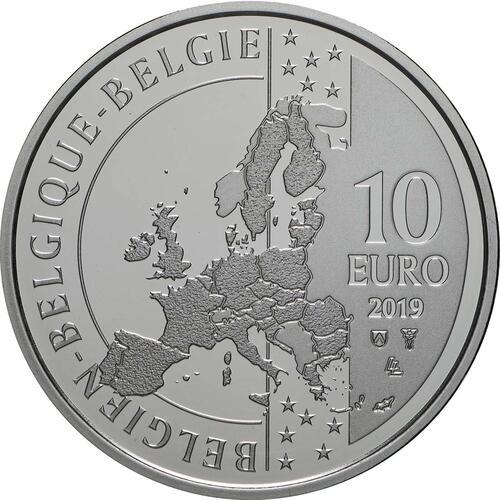 Rückseite:Belgien : 10 Euro 100. Geburtstag Albéric Schotte - Radrennfahrer  2019 PP
