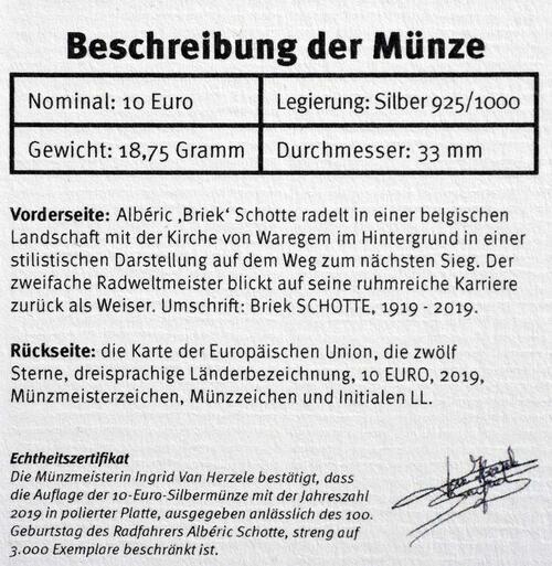 Zertifikat:Belgien : 10 Euro 100. Geburtstag Albéric Schotte - Radrennfahrer  2019 PP