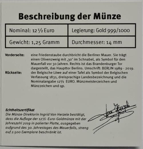 Zertifikat:Belgien : 12,5 Euro 30. Jahre Fall der Berliner Mauer  2019 PP