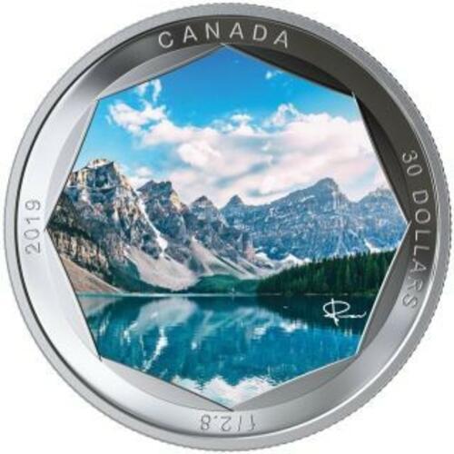 Vorderseite:Kanada : 30 Dollar Moraine Lake - Photo Serie 2 oz  2019 Stgl.