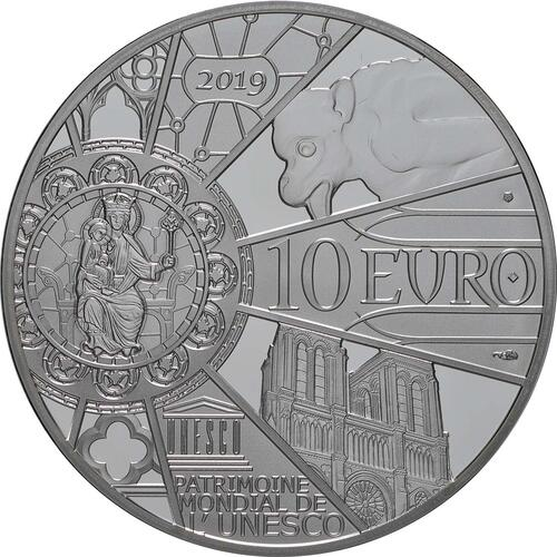 Rückseite:Frankreich : 10 Euro Notre Dame  2019 PP