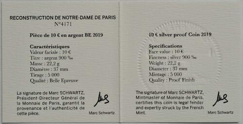 Zertifikat:Frankreich : 10 Euro Notre Dame  2019 PP