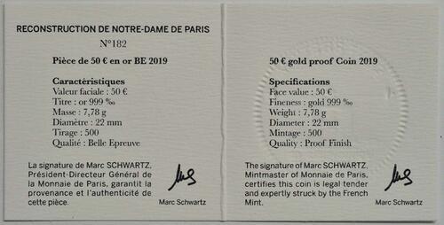 Zertifikat:Frankreich : 50 Euro Notre Dame  2019 PP