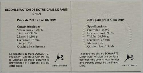 Zertifikat:Frankreich : 200 Euro Notre Dame  2019 PP