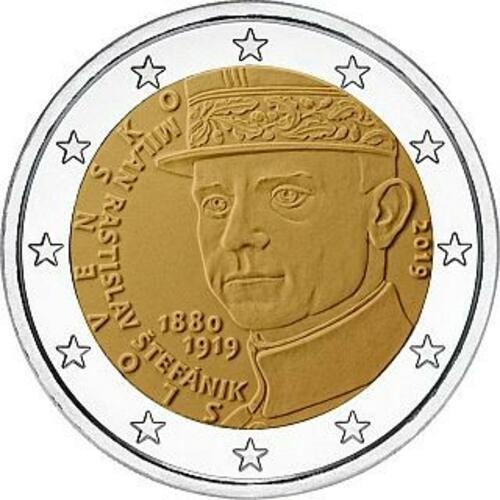 Vorderseite:Slowakei : 2 Euro 100 Todestag von Milan Rastislav Stefanik  2019 Stgl.