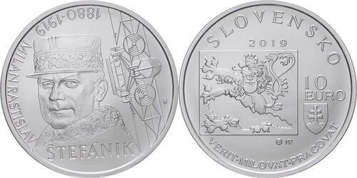 Lieferumfang:Slowakei : 10 Euro 100. Todestag M. R. Stefanik (Pilot)  2019 Stgl.