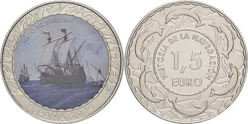 Lieferumfang:Spanien : 1,5 Euro Segelschiff 14. Jh. #9  2019 bfr