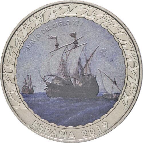 Vorderseite:Spanien : 1,5 Euro Segelschiff 14. Jh. #9  2019 bfr