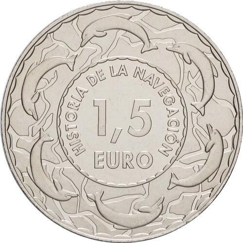 Rückseite:Spanien : 1,5 Euro Spanische Galeere 17. Jh. #11  2019 bfr