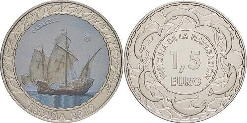 Lieferumfang:Spanien : 1,5 Euro Karavelle #12  2019 bfr