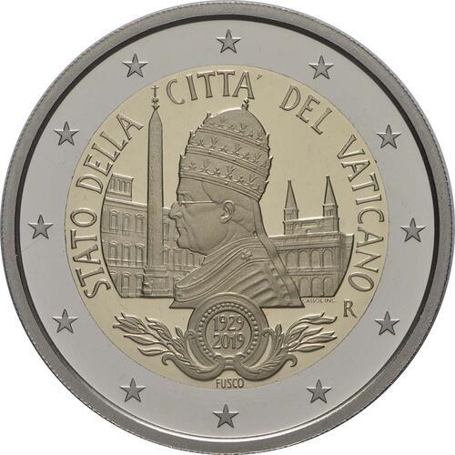 Rückseite:Vatikan : 2 Euro 90. Jahrestag der Gründung des Staates Vatikanstadt  2019 PP