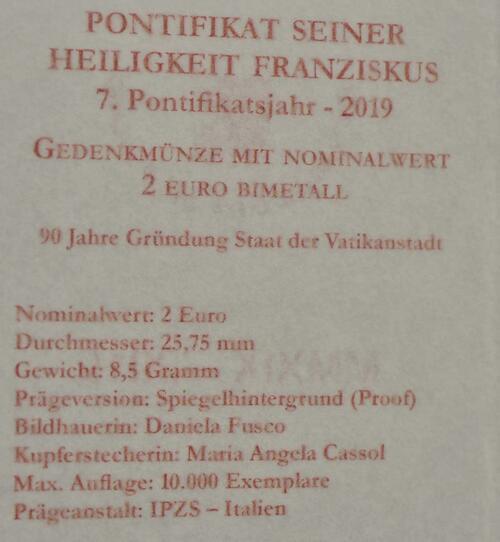 Zertifikat:Vatikan : 2 Euro 90. Jahrestag der Gründung des Staates Vatikanstadt  2019 PP