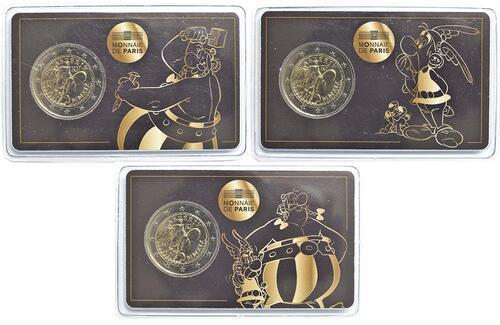 Lieferumfang:Frankreich : 2 Euro Komplettset Coincards Asterix und Obelix, Asterix und Idefix, Obelix  2019 Stgl.