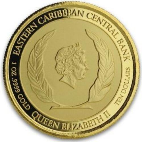 Rückseite:Antigua und Barbuda : 10 Dollar Rum Runner (Schmuggler-Schiff)  2019 Stgl.