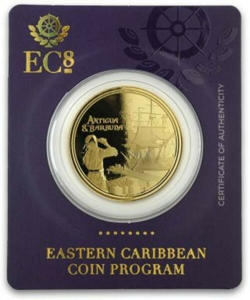 Lieferumfang:Antigua und Barbuda : 10 Dollar Rum Runner (Schmuggler-Schiff)  2019 Stgl.