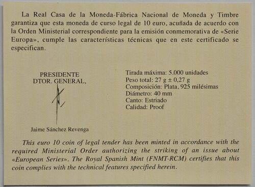 Zertifikat:Spanien : 10 Euro Renaissance  2019 PP