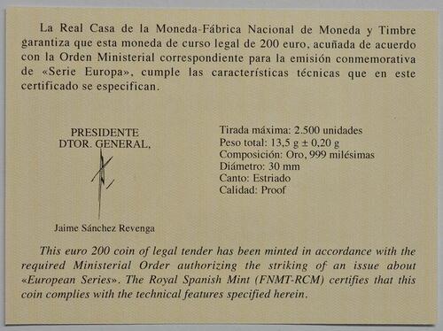 Zertifikat:Spanien : 200 Euro Renaissance  2019 PP
