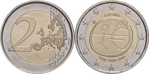 Lieferumfang:Spanien : 2 Euro 10 Jahre Euro - Variante große Sterne  2009 bfr