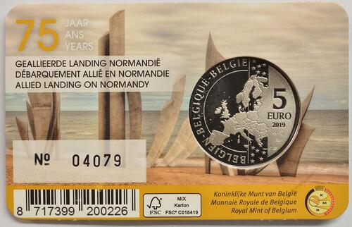 Zertifikat:Belgien : 5 Euro 75 Jahre D-Day  2019 bfr