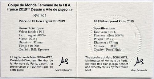 Zertifikat:Frankreich : 10 Euro Trickspiel  2019 PP