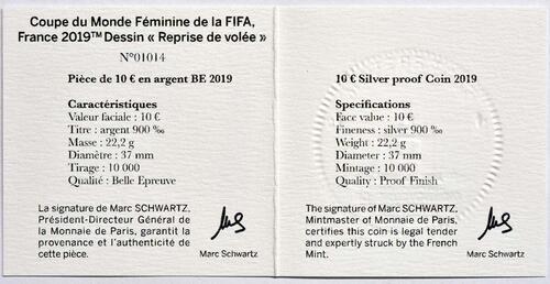 Zertifikat:Frankreich : 10 Euro Volley  2019 PP