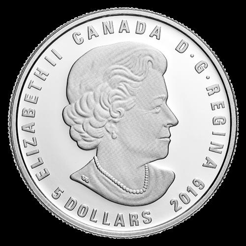 Rückseite:Kanada : 5 Dollar Löwe - 23. Juli bis 22. August mit Swarowski  2019 PP