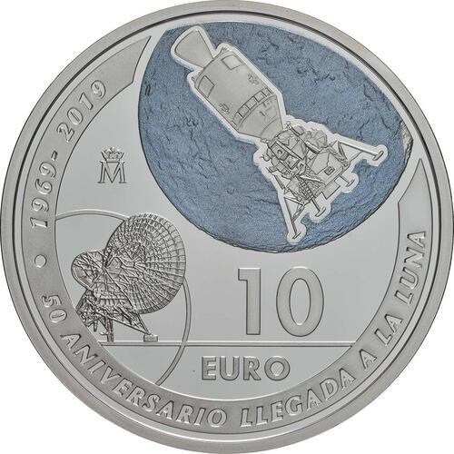 Vorderseite:Spanien : 10 Euro Mondlandung  2019 PP