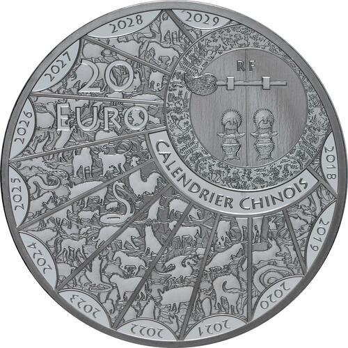 Rückseite:Frankreich : 20 Euro Jahr der Ratte  2020 PP