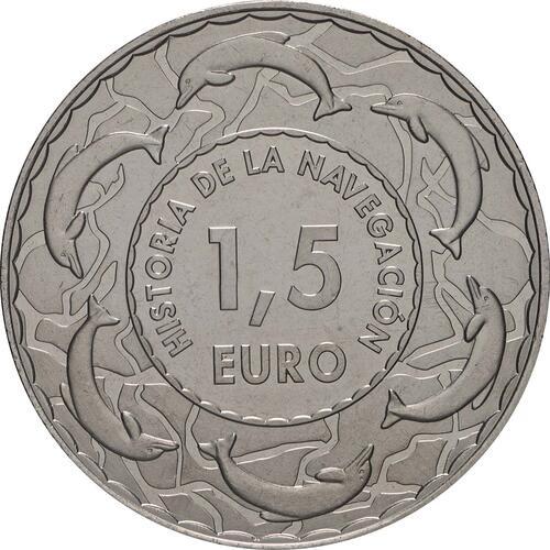 Rückseite:Spanien : 1,5 Euro Römische Bireme #14  2019 bfr