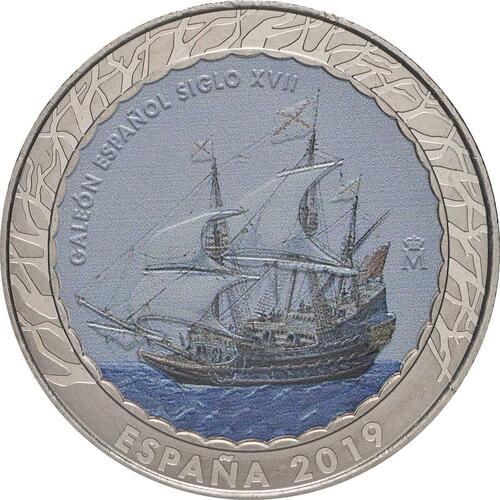 Vorderseite:Spanien : 1,5 Euro Spanische Galeone 17. Jh. #15  2019 bfr