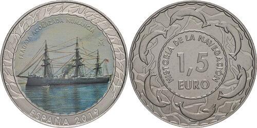 Lieferumfang:Spanien : 1,5 Euro Gepanzerte Fregatte Numancia #16  2019 bfr