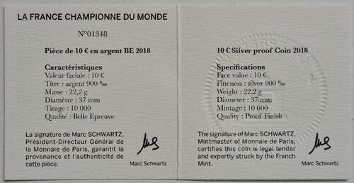 Zertifikat:Frankreich : 10 Euro Fußballweltmeister Frankreich  2018 PP