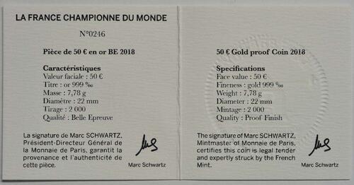 Zertifikat:Frankreich : 50 Euro Fußballweltmeister Frankreich  2018 PP