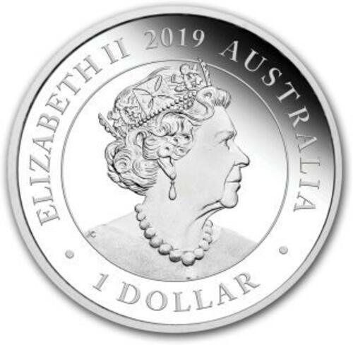 Rückseite:Australien : 1 Dollar Schwan - im Etui  2019 PP