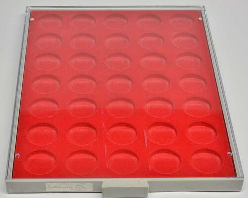 Lieferumfang:Deutschland :   LINDNER Münzbox 35 runde Vertiefungen passend für 10 Euro Gedenkmünzen 32.5mm   ss.