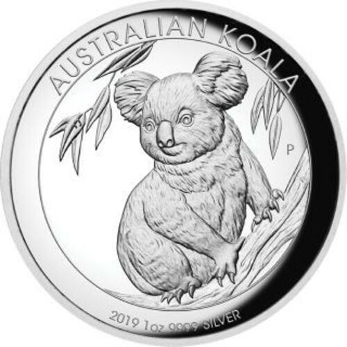 Vorderseite:Australien : 1 Dollar Koala - Highrelief 1 oz  2019 PP