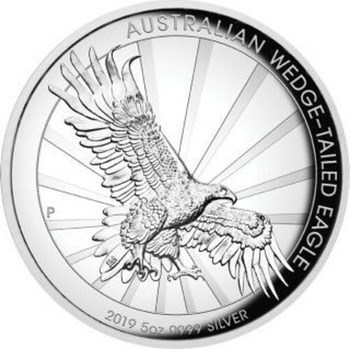 Vorderseite:Australien : 8 Dollar Keilschwanzadler - Highrelief 5 oz  2019 PP