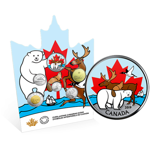 Lieferumfang:Kanada : 3,9 Dollar Kurssatz - Canadas Ikonen  2019 Stgl.