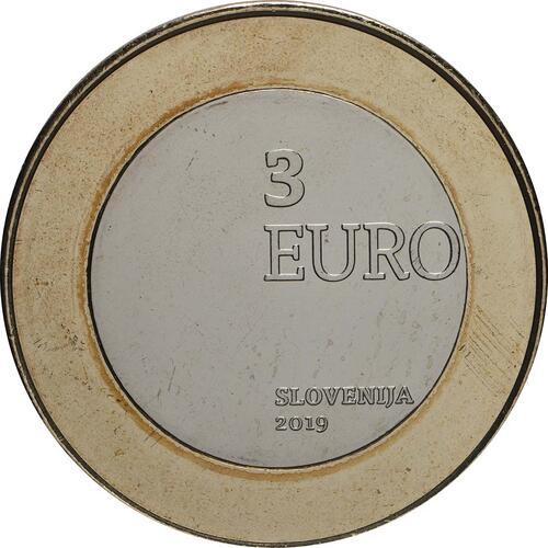 Rückseite:Slowenien : 3 Euro 100 J. Wiedereingliederung von Prekmurje  2019 Stgl.