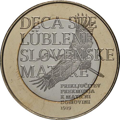 Vorderseite:Slowenien : 3 Euro 100 J. Wiedereingliederung von Prekmurje  2019 Stgl.