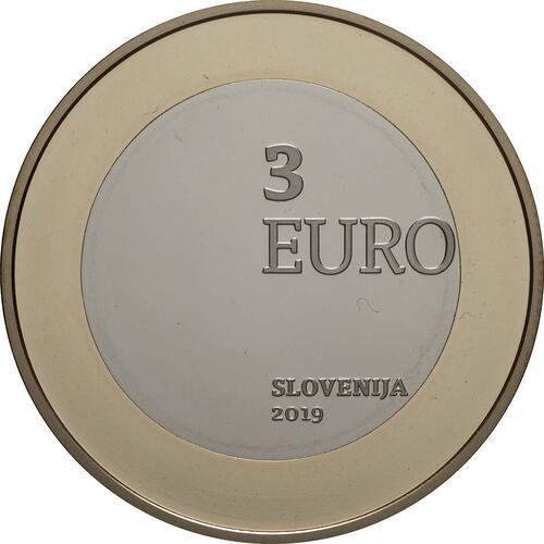 Rückseite:Slowenien : 3 Euro 100 J. Wiedereingliederung v. Prekmurje  2019 PP