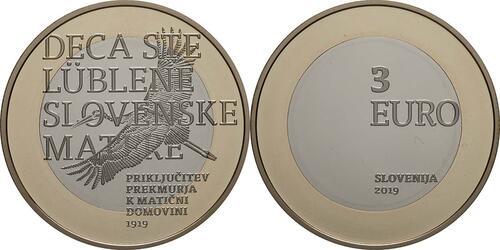 Lieferumfang:Slowenien : 3 Euro 100 J. Wiedereingliederung v. Prekmurje  2019 PP