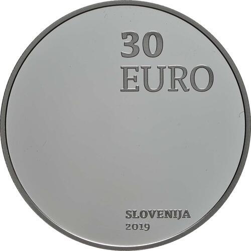 Rückseite:Slowenien : 30 Euro 100 J. Wiedereingliederung von Prekmurje  2019 PP