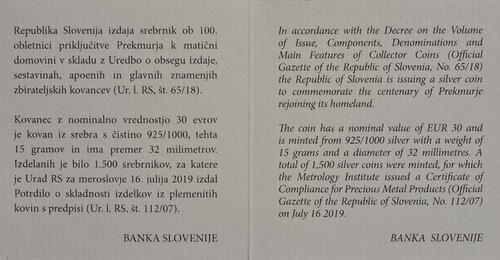 Zertifikat:Slowenien : 30 Euro 100 J. Wiedereingliederung von Prekmurje  2019 PP