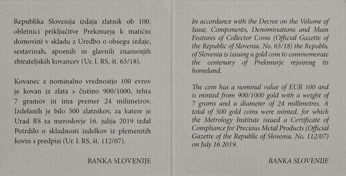 Zertifikat:Slowenien : 100 Euro 100 J. Wiedereingliederung von Prekmurje  2019 PP