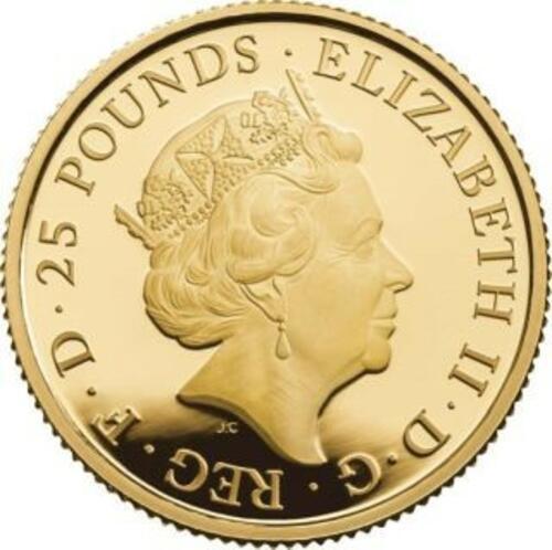 Rückseite:Großbritannien : 25 Pfund Lunar Ratte 1/4 oz  2020 PP