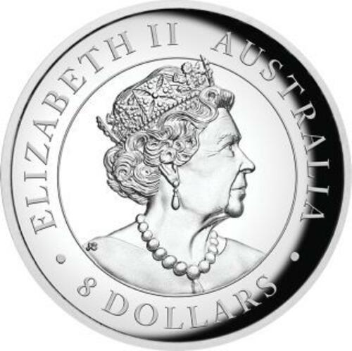 Rückseite:Australien : 8 Dollar Känguru 5 oz - Highrelief  2019 PP
