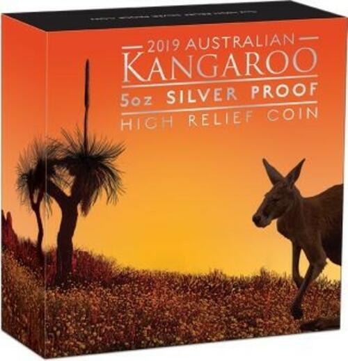 Zertifikat:Australien : 8 Dollar Känguru 5 oz - Highrelief  2019 PP